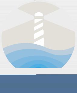 Le logo de Waves'n See avec un phare et la mer.